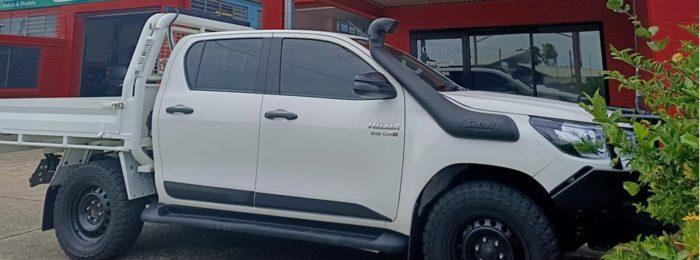Darkest legal Ultra Black window tint on a Toyota Hilux dual cab